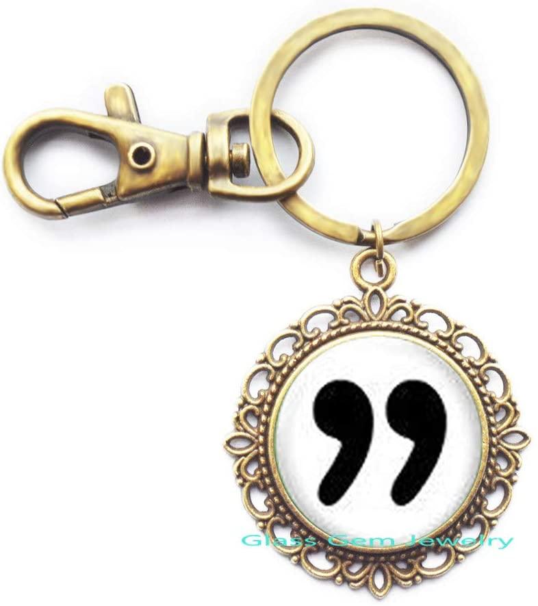 Literary Keychain,Quotes Keychain,Writer Jewelry,Tiny Key Ring,Glass Keychain,Quotation Mark Keychain, Q0154