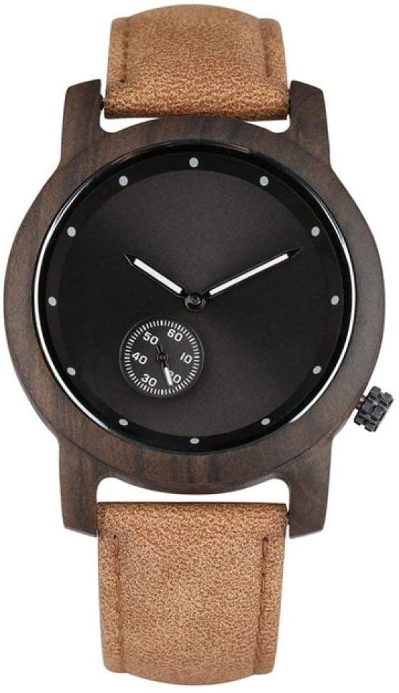 WRENDYY Wooden Watch Wood Watch Men's Small Seconds Dial Design Ebony Wooden Men Watch Leather Watchband Quartz Analog Wristwatch Clock Hour for Men