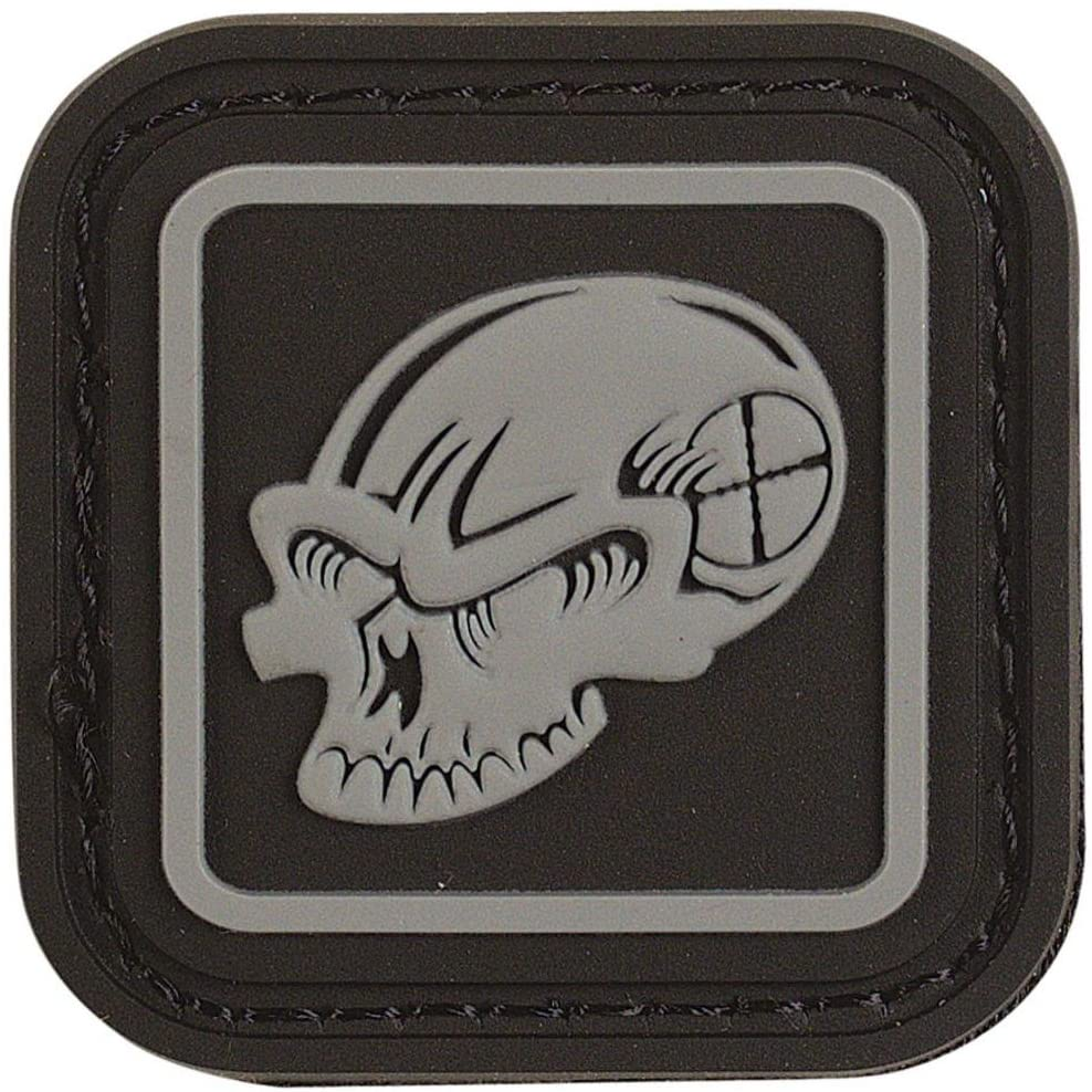VooDoo Tactical 07-0980108000 Rubber Enclosed Skull Rubber Patch, Black/Gray