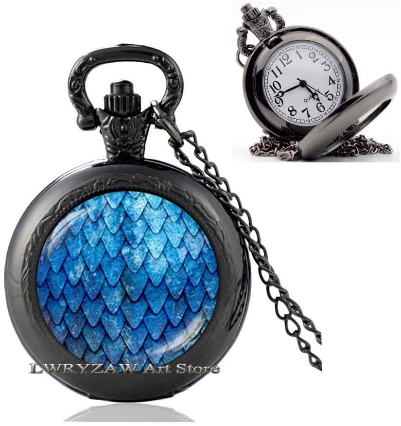 Blue Dragon Egg Pocket Watch Necklace, Dragon Egg Pocket Watch Necklace,nspired Pocket Watch Necklace, Dragon Pendant, Blue Pocket Watch Necklace,Simple Pocket Watch Necklace,M207