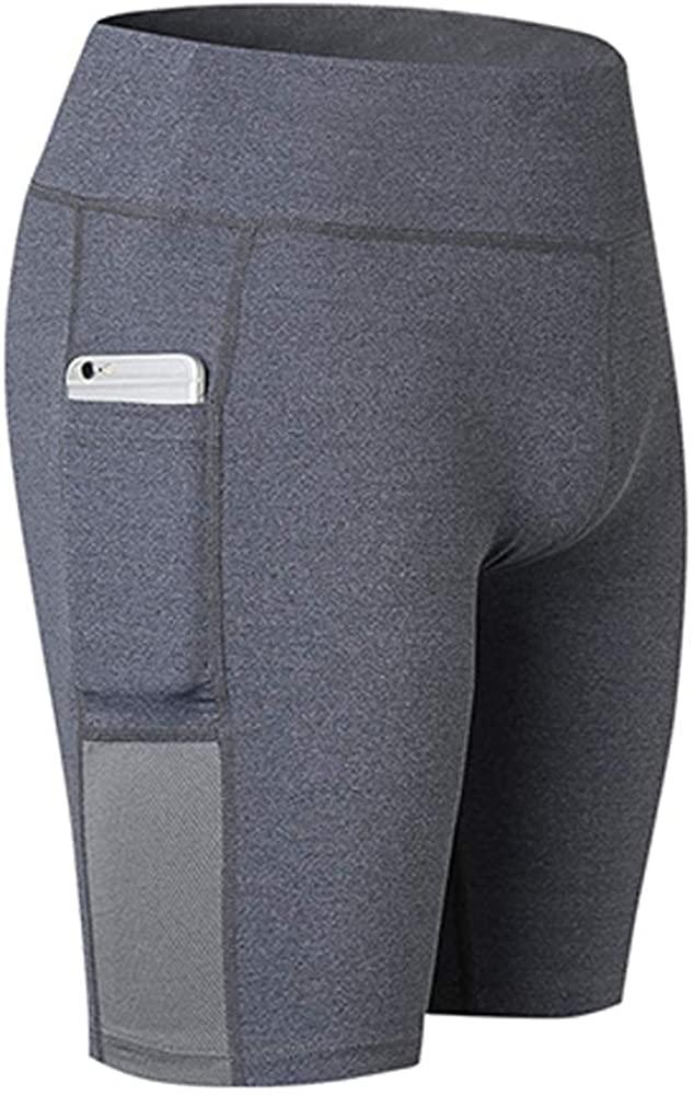 Fysupotsu Women's Pocket Shorts Breathable Fitness Yoga Shorts Sports Running Leggings Shorts