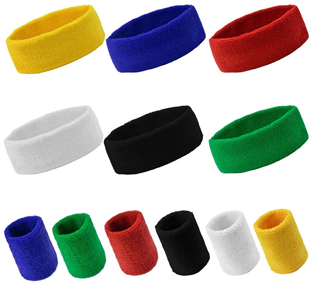 Yookat 12PCS Sports Headbands/Wristbands for Men and Woman Sports Sweatband Elastic Non Slip Moisture Wicking Athletic Wristbands Head Band for Running Cycling Yoga Washing Basketball