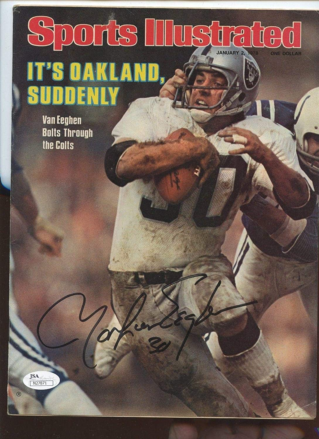 Jan 2 1978 Sports Illustrated No Mailing Label Mark Van Eeghen Autographed JSA - Autographed NFL Magazines