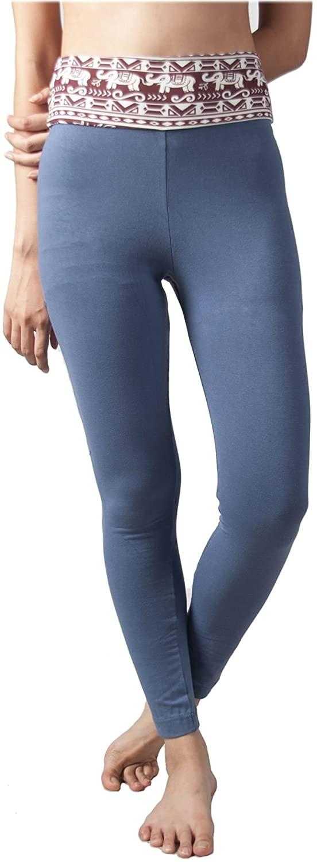 LOFBAZ Yoga Pants for Women Workout Fold Over High Waist Printed Cotton Leggings