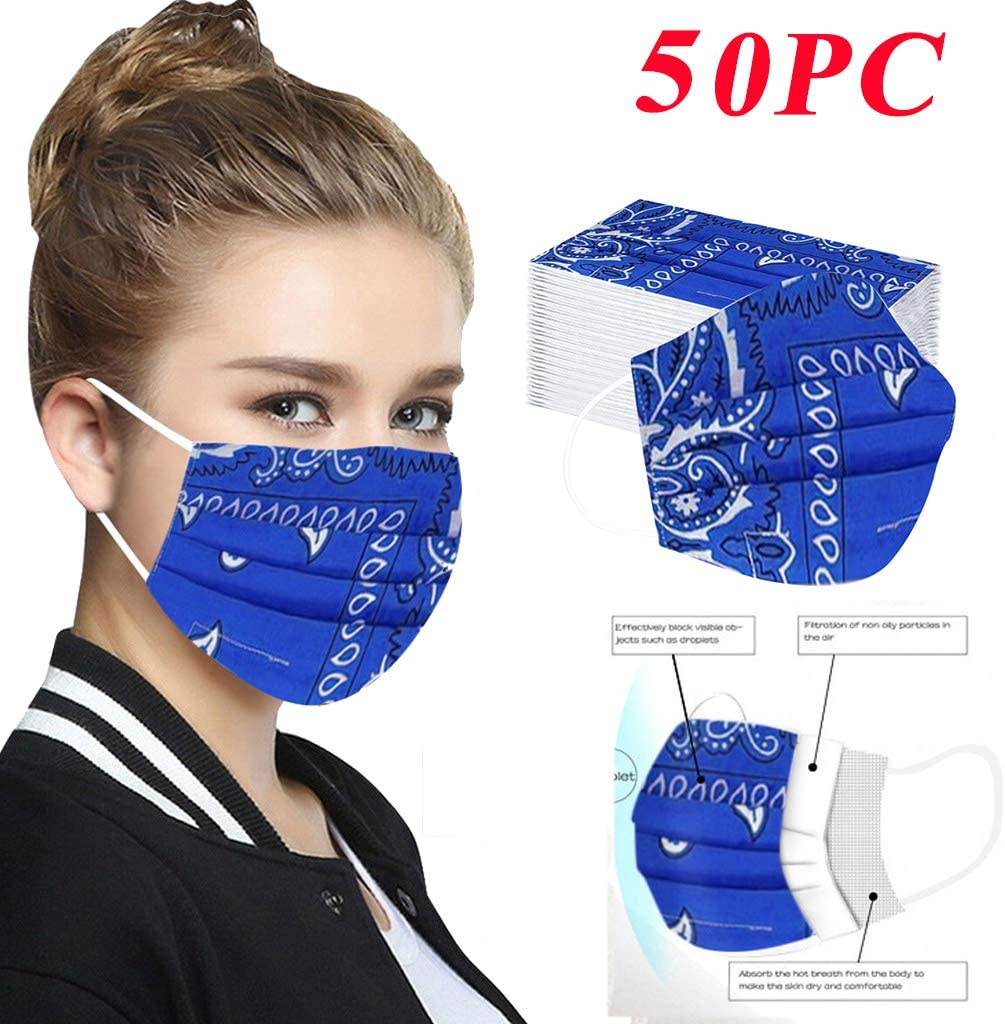 HX88 3 Ply Disposable Protective, Novelty Print Non-Woven Face Bandanas Thicken Breathable for Adults Full Face Protection Anti-Haze Dust Outdoor Cycling Running Working
