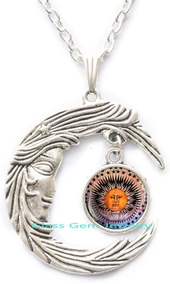 Sun and Moon Pendant, Sun Moon Star Jewelry, Sun Moon Necklace, Magic Moon and Star Pendant, Occult Pendant, Half Moon, Crescent Moon Sun,Q0024