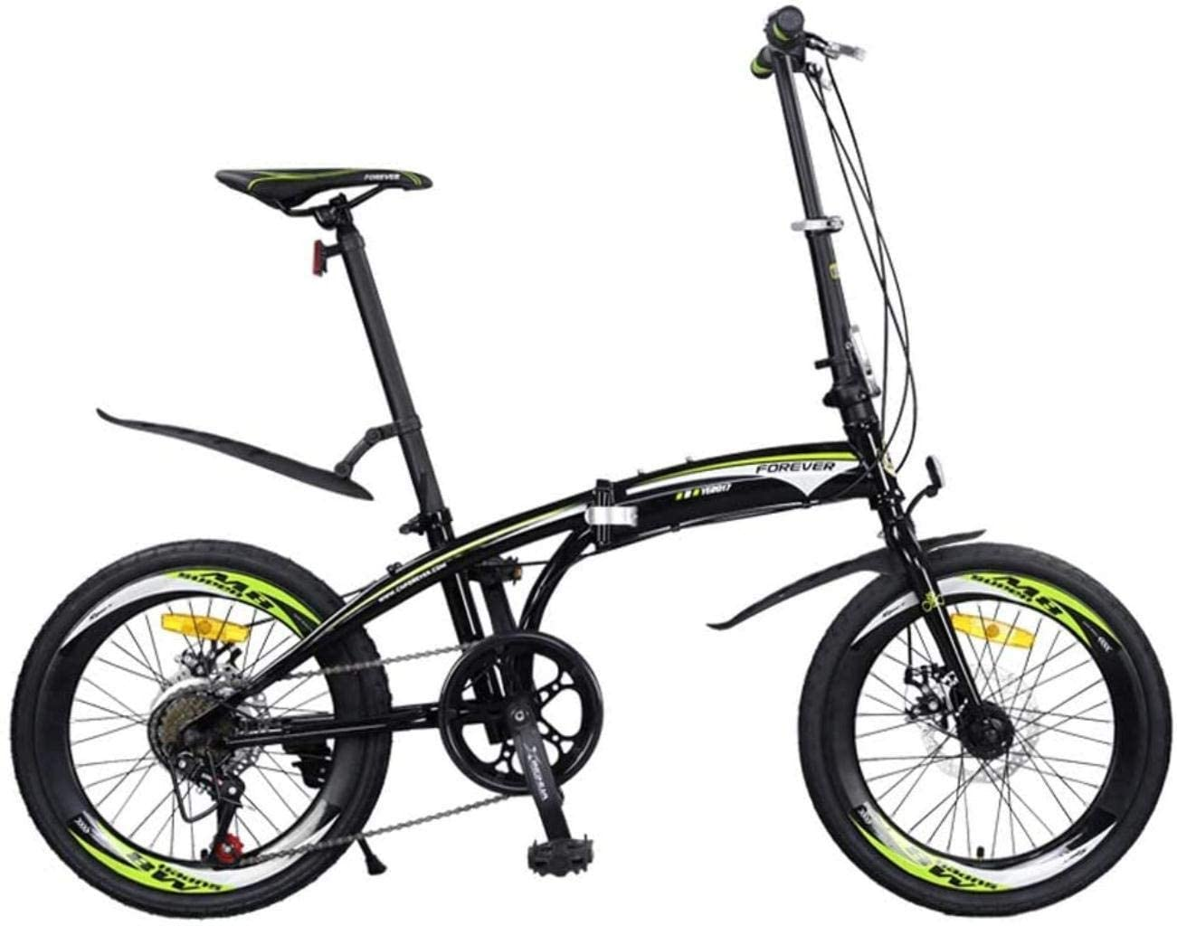 CSS Folding Bicycle, 20 inch 7-Speed Foldable Bike Alloy Lightweight Commuter City Caravan Bicycle Ultra Light Portable Bike 6-24,Green