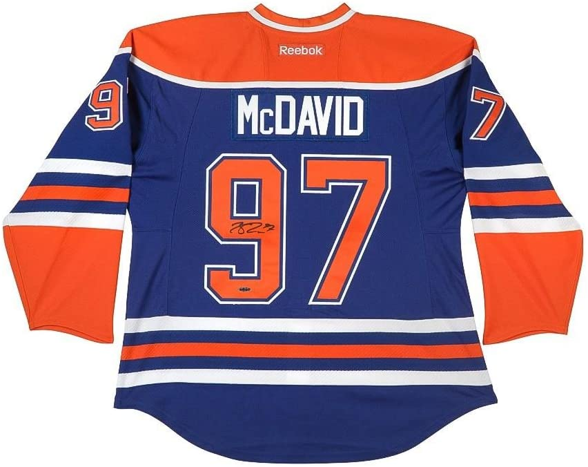 Signed Connor McDavid Jersey - Blue Captain Inaugural Patches - Upper Deck Certified - Autographed NHL Jerseys