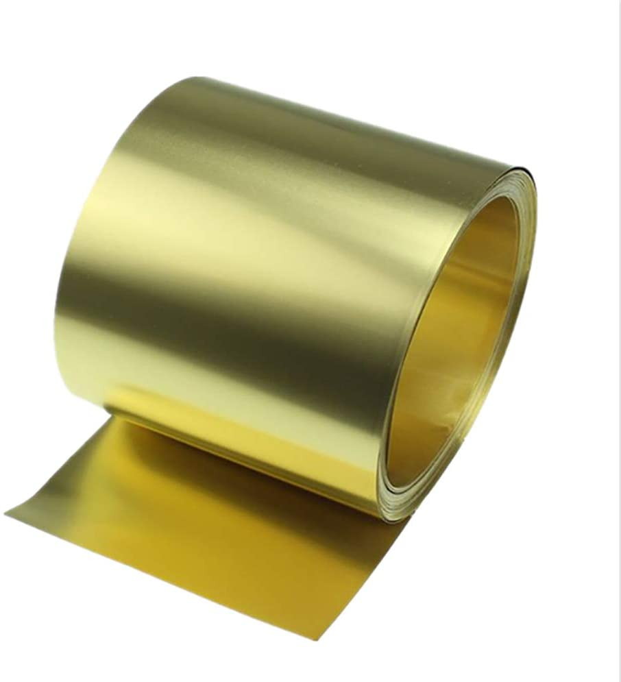 LEISHENT H62 Brass Metal Thin Sheet Thickness 0.02Mm to 0.2Mm, Width 100Mm, Length 1000Mm,0.05x100x1000mm