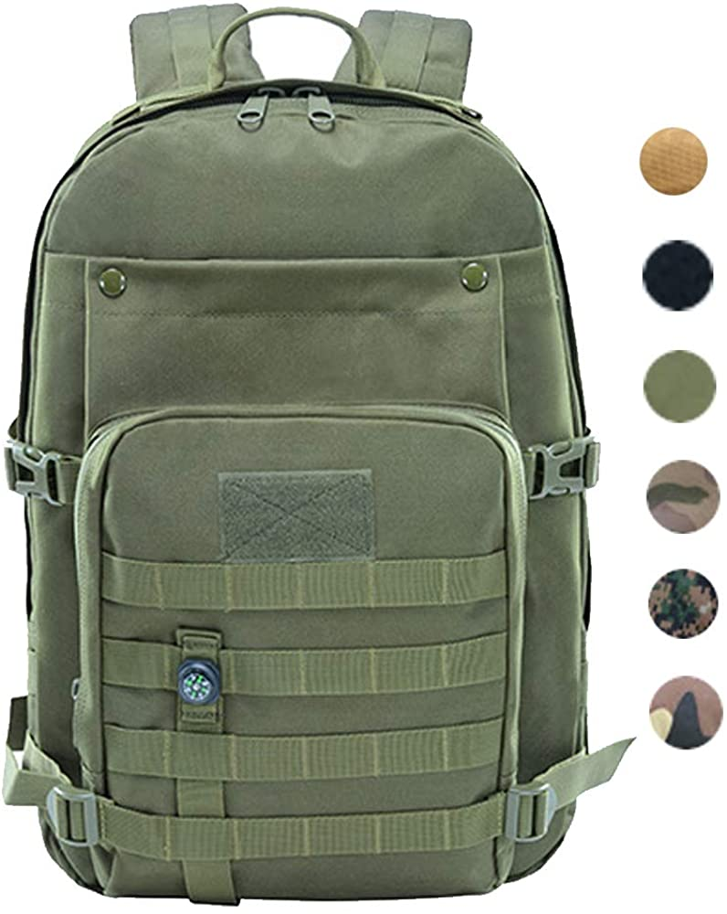LHI Tactical Backpack 45L 900D Military Cycling Outdoor Sports Bag Multifunctional with Mini Toy Compass
