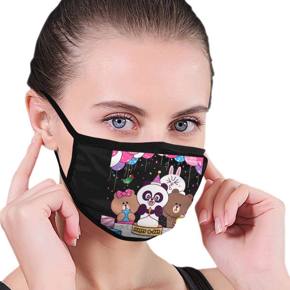 Qwtykeertyi Line Friends Fashion Protective Reusable Unisex Black Cotton Washable Balaclava