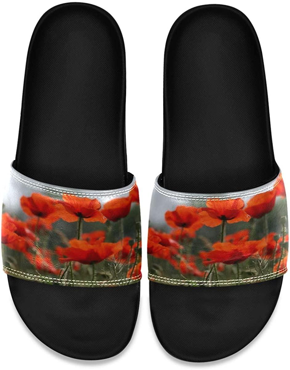 Poppy Flowers Unique Mens Leather Slide Sandals Summer House Slippers Non Slip Boys