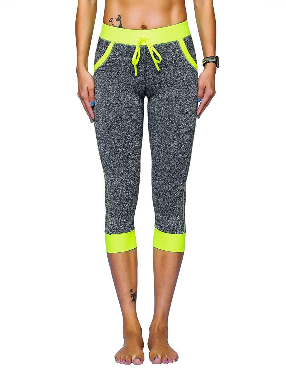 Nonwe Women's Yoga Leggings Capris Pants Workout Fitness Tights