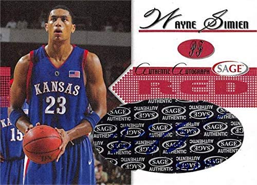 Wayne Simien autographed Basketball Card (Kansas Jayhawks) 2005 SAGE Red Rookie #A19 LE 149/300 - Unsigned Basketball Cards