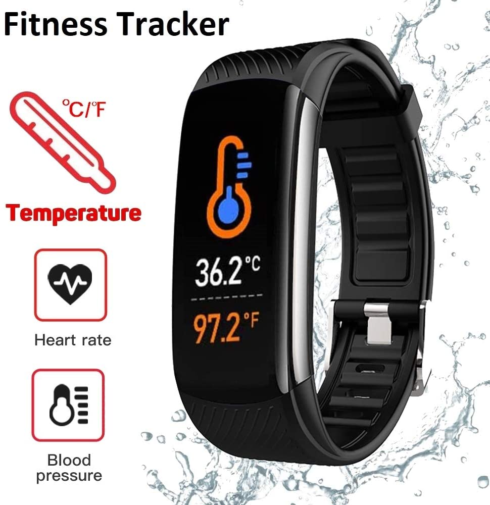 MDYN Fitness Tracker (Black) - Body Temperature Heart Rate Blood Pressure Blood Oxygen Monitor Pedometer Calories Counter Sleep Monitor Smartwatch Call and Message Reminder – Android & iPhone