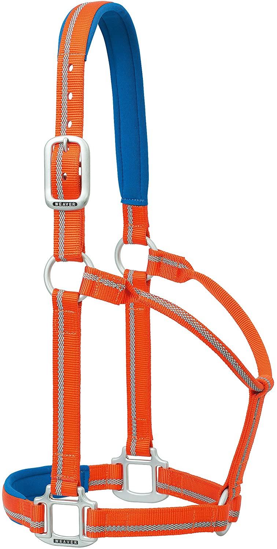 Weaver Leather Nylon Padded Reflective Non-Adjustable Horse Halter, Small, Orange