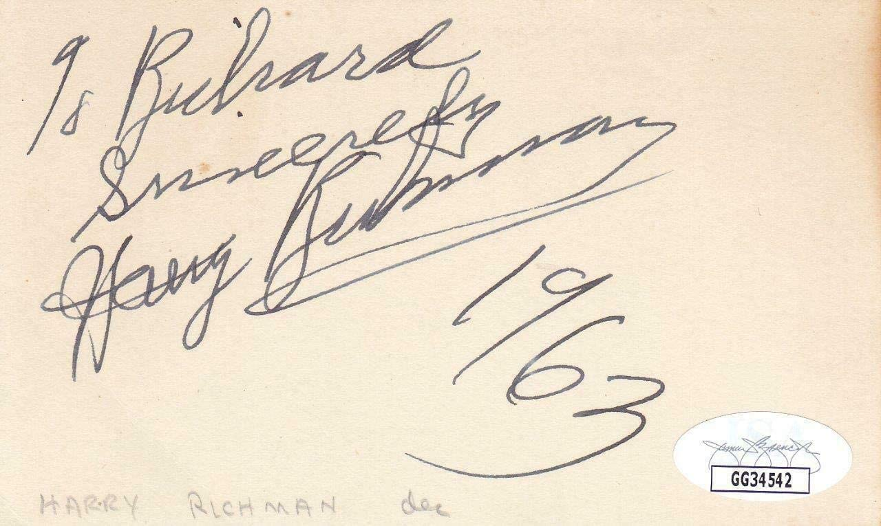 HARRY RICHMAN d 1972 Signed Index Card Entertainer/I Love a Parade GG34542 - JSA Certified - NFL Cut Signatures