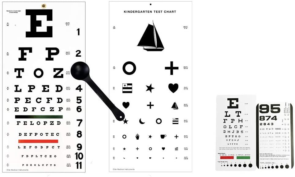 EMI 5 Piece Optometry Set - Snellen Wall Eye Chart, Kindergarten Wall Eye Chart, Snellen Pocket Eye Chart, Rosenbaum Pocket Eye Chart, Occluder