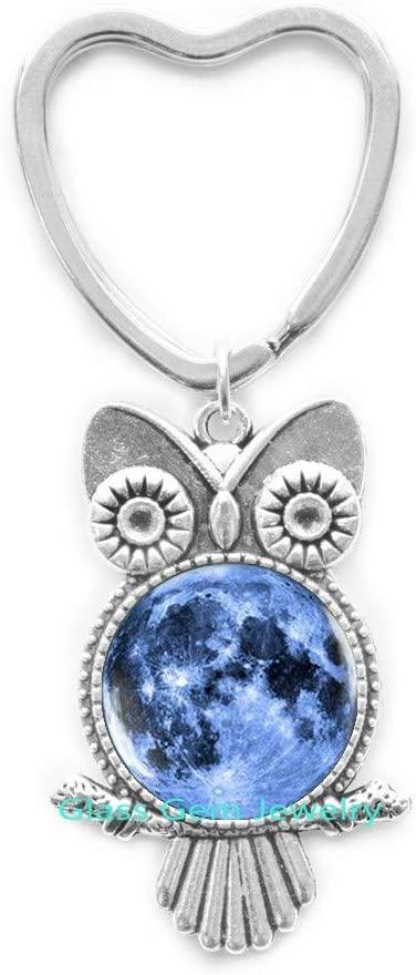 Blue Moon Owl Keychain, Full Moon Owl Keychain, Moon Key Ring Galaxy Space Blue Owl Keychain, Moon Jewelry,Q0050