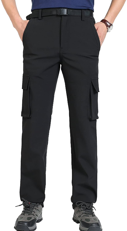 Mr.Stream Men's Winter Walking Mountain Outdoor Athletic Sports Hiking Fleece Quick Drying Multi Pocket Cargo Pant