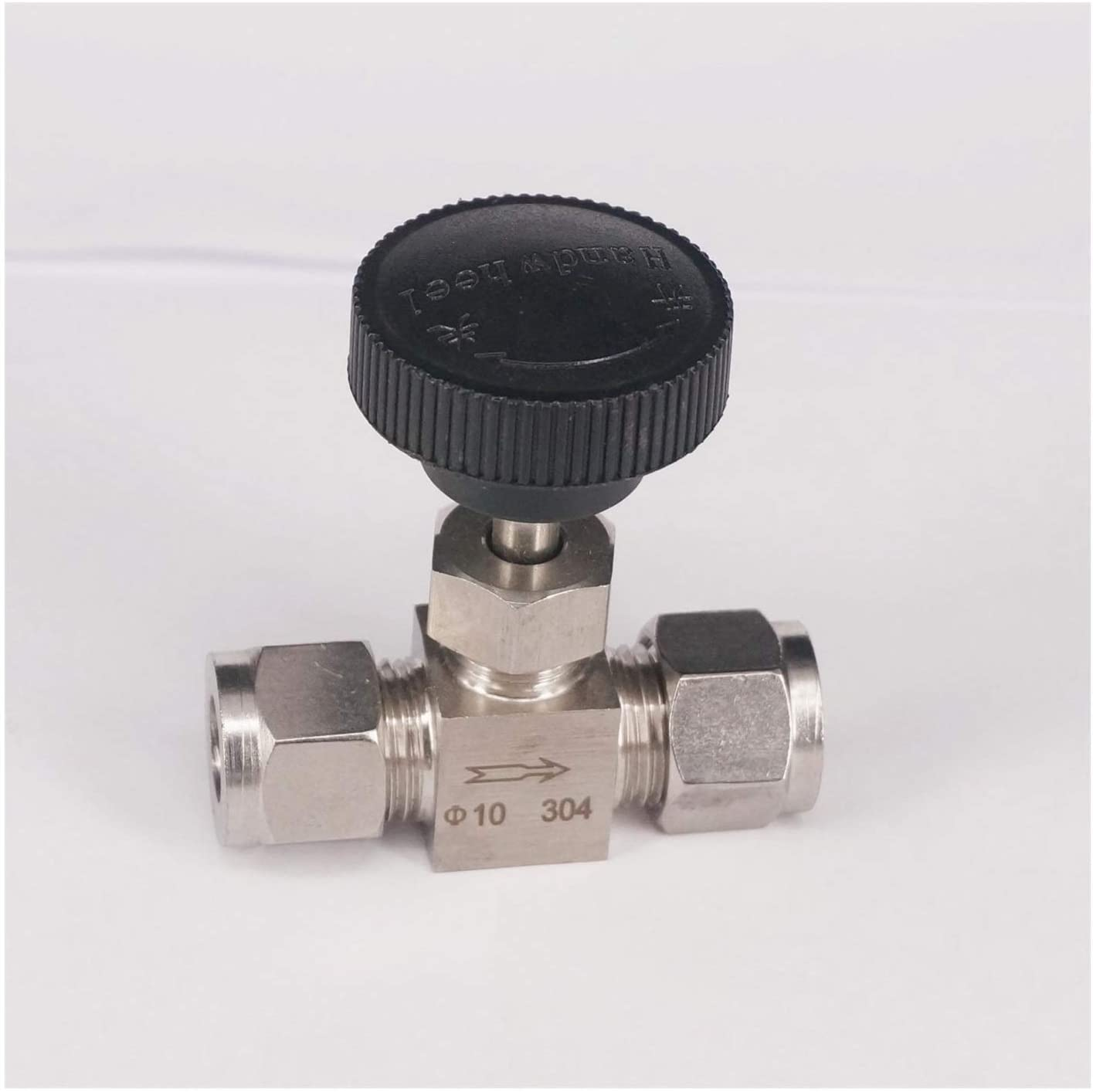 BAIJIAXIUSHANG-TIES Valves, Fittings Needle Valve Fit 10mm OD Tube 304 Stainless Steel Shut Off Flow Control Needle Valve Compression Fitting 6.4 Mpa