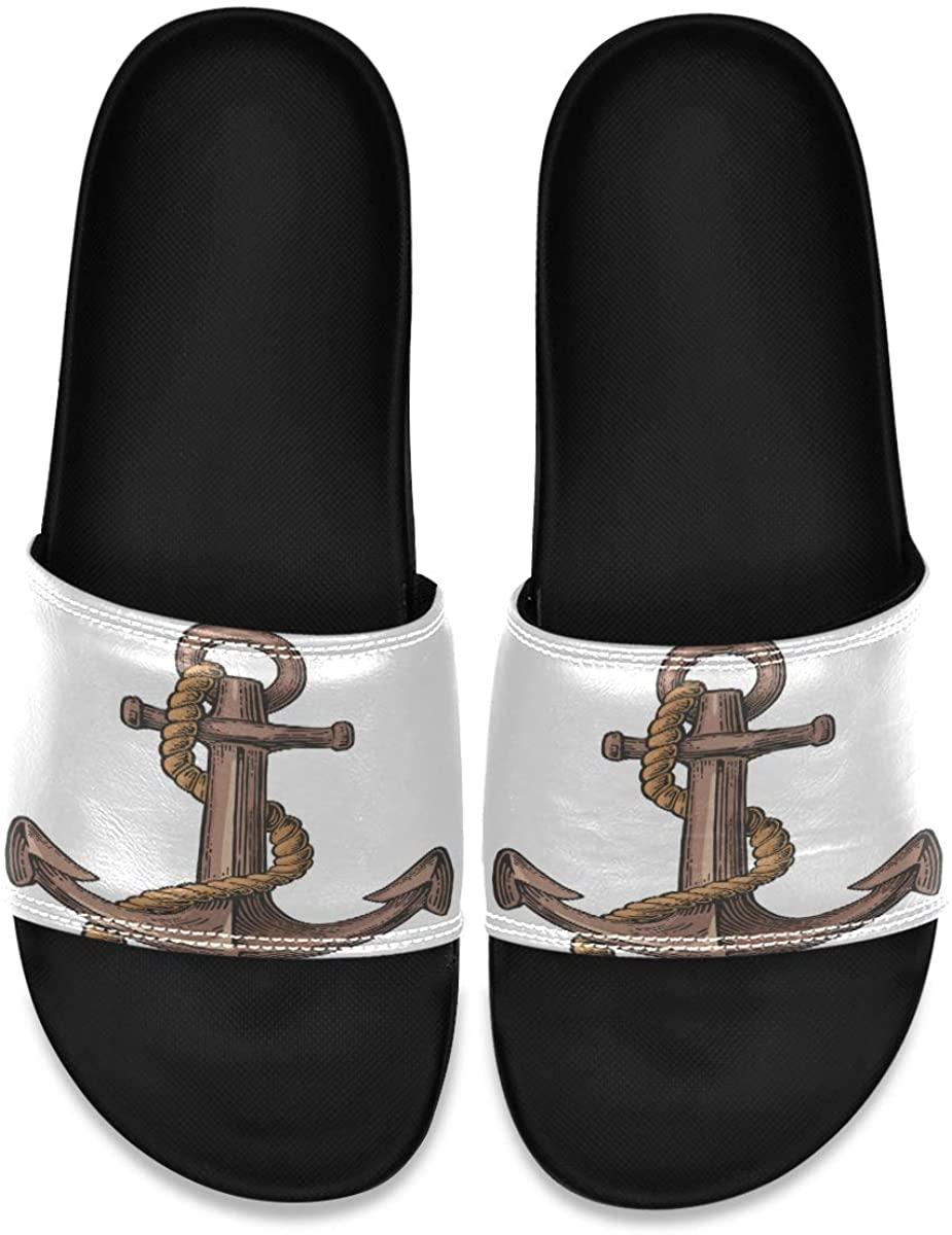 Vintage Anchor Color Engraving Ship Men's Leather Slide Sandals Summer House Slippers Wide Boys
