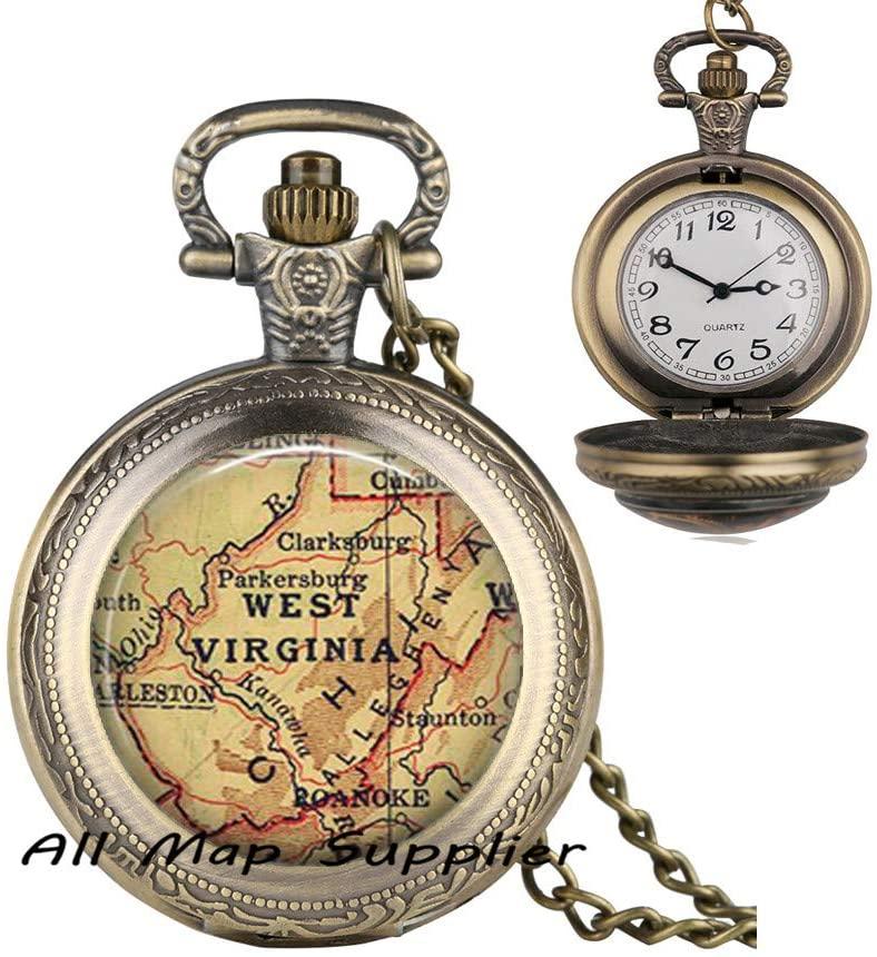 AllMapsupplier Fashion Pocket Watch Necklace West Virginia map Pocket Watch Necklace,West Virginia map Pendant,State map Pocket Watch Necklace,Allegheny Mountains,A0049