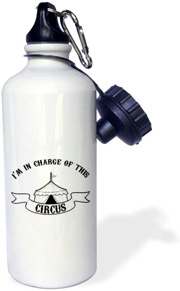 3dRose Stamp City - Typography - Im in Charge of This Circus. Fun Black Lettering in White Background. - 21 oz Sports Water Bottle (wb_323319_1)