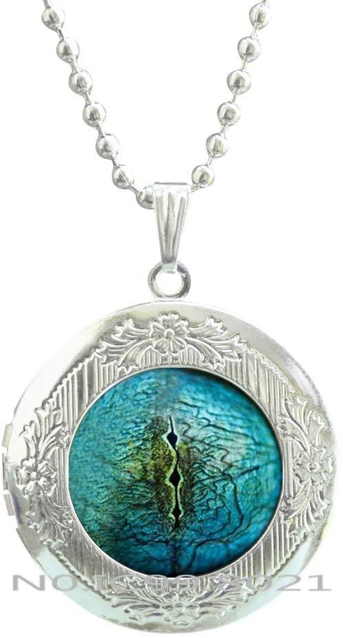 maoqunza Lizard Eye Pendant Reptile Jewelry Glass Locket Necklace Photo Pendant Blue Eye Locket Necklace Gift for Women Reptile Jewellery Blue Eye jewellery-RG400