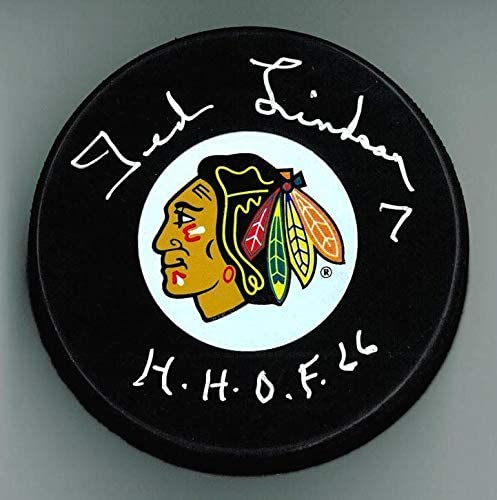 Ted Lindsay Autographed Chicago Blackhawks Puck w/HOF - Autographed NHL Pucks