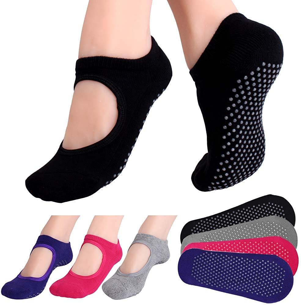 Hicdaw 4Pairs Yoga Socks for Women Non Slip Socks Slipper Socks for Pilates, Ballet, Dance, Yoga Socks with Grips for Women