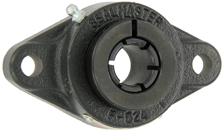 Sealmaster SFT-22T Standard Duty Flange Unit, 2 Bolt, Regreasable, Felt Seals, Skwezloc Collar, Cast Iron Housing, 1-3/8