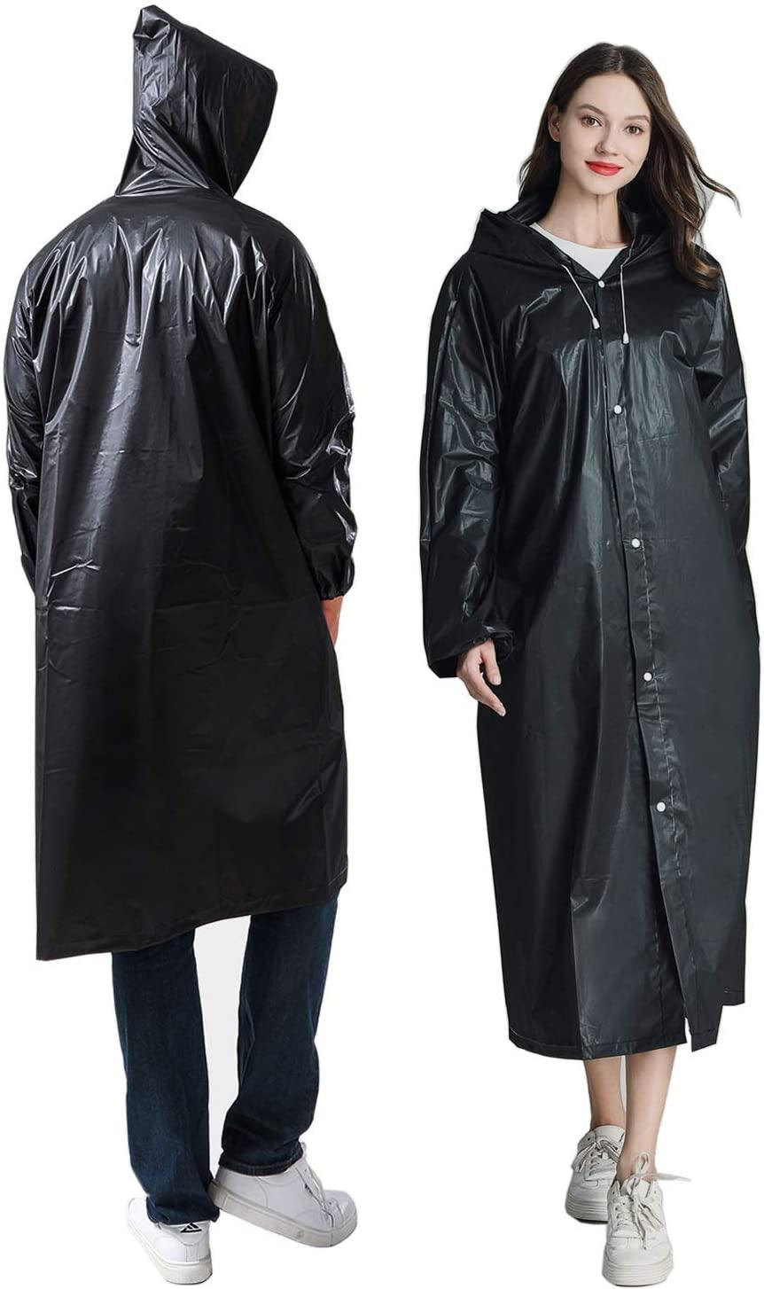 NEOYARDE Raincoat, 2 Pack Emergency Reusable EVA Rain Ponchos Rain Coats with Drawsting Hood and Elastic Cuff Sleeves