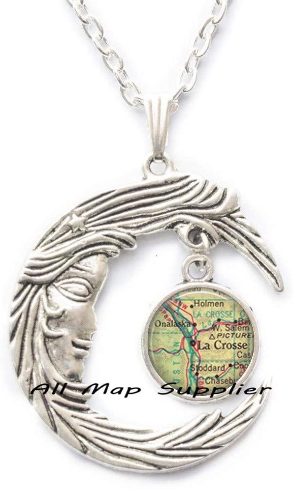 AllMapsupplier Fashion Necklace La Crosse,Wisconsin map Necklace,Lacrosse Necklace Lacrosse Pendant map Jewelry,map Pendant,A0079