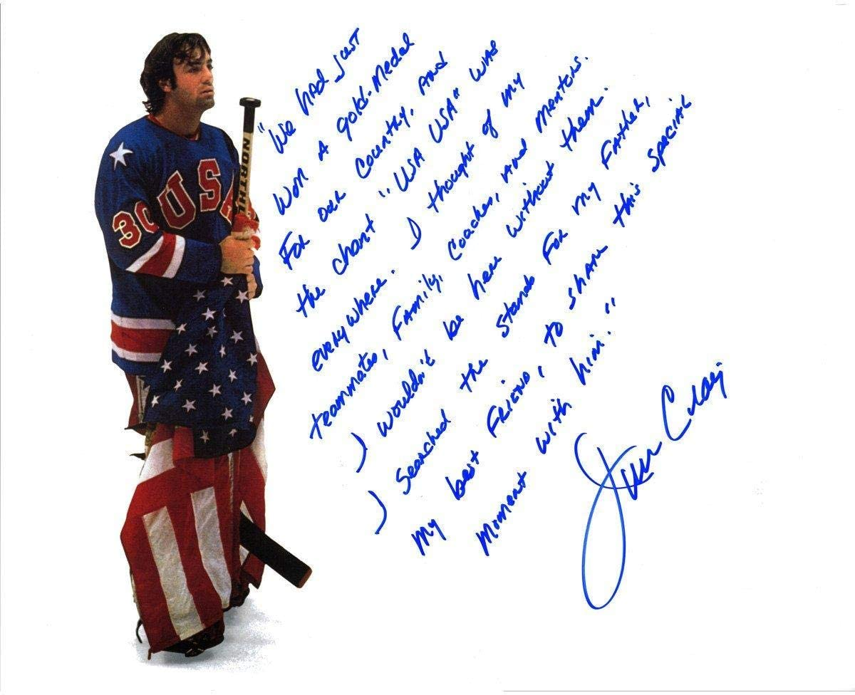 Jim Craig Team USA Autographed 16'' x 20'' Holding Stick and Flag Photograph with ''In Their Own Words'' Inscription - Steiner Sports Certified