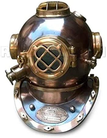 MAXNAUTICALMART Realistic Scuba Diving Divers Helmet US Navy Mark V Solid Vintage Copper Finish