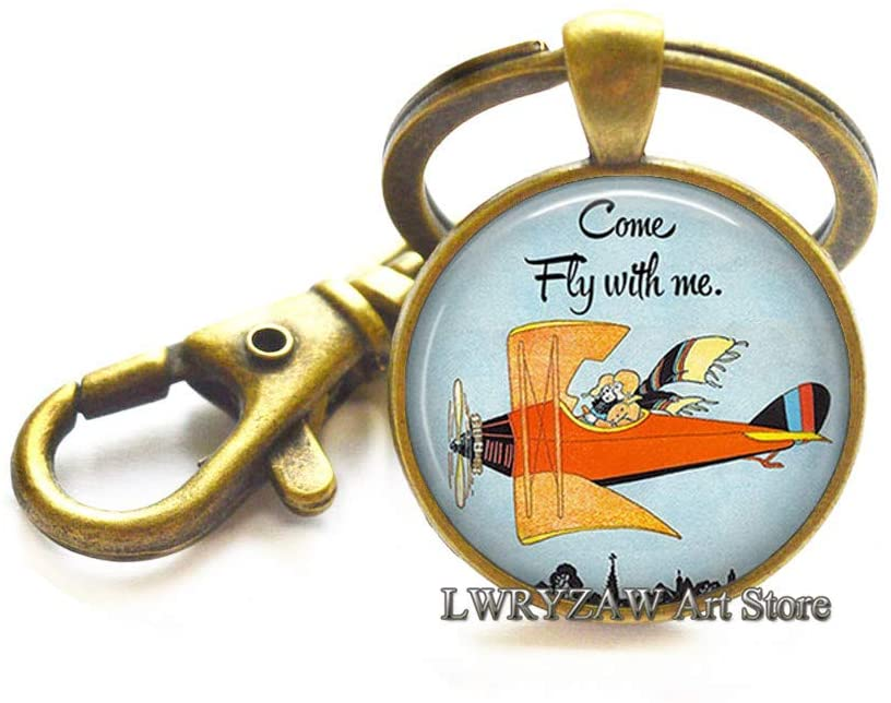 Come Fly with me Keychain, Fly with me Key Ring, Airplane Keychain, Romantic Jewelry, Romantic Gift,M385