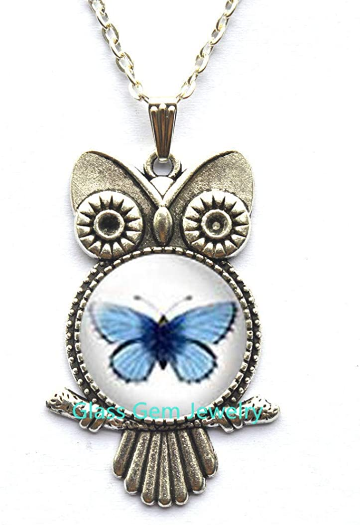 Blue Butterfly Owl Necklace,Blue Butterfly Owl Pendant,Romantic Gifts,Butterfly Earings,Birthday Gift,Small Owl Necklace,Nature Jewelry,Q0161