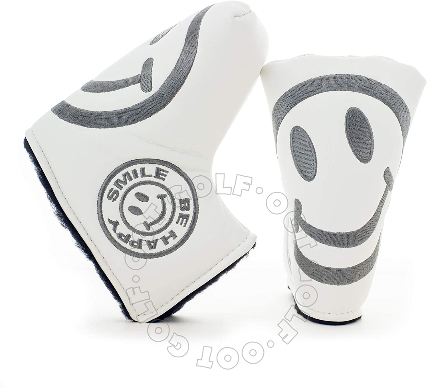 19th Hole Custom Shop Smile Face Golf Headcover for Blade and Midsize Mallet Putter, White, Head Cover