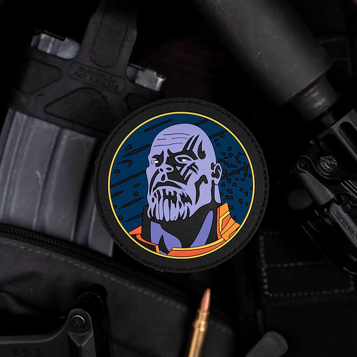 NEO Tactical Gear Thanos MCU PVC Rubber Morale Patch – Hook Backed with Loop Attachment Piece That Can Be Sewn On