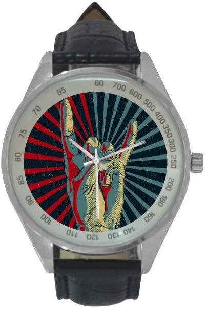 QUICKMUGS2U Rock Roll Gestures Men's Leather Strap Analog Quartz Watch Wrist Business Casual Watch Men