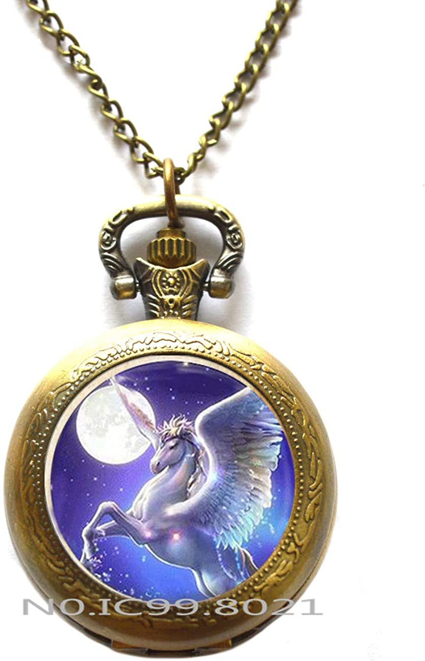 maoqunza Pegasus Pocket Watch Necklace, Pegasus Charm Pocket Watch Necklace, Pegasus Jewelry Gift, Pegasus Jewelry, Flying Horse Pocket Watch Necklace, Flying Horse Gift/Pegasus Lover Gift -RG99