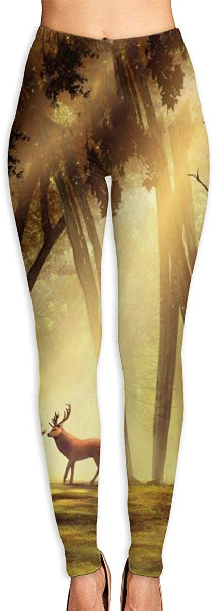AUISS Womens Yoga Pants Leggings Forest Spirit Running Workout Fitness Long Trousers Athletic Gym