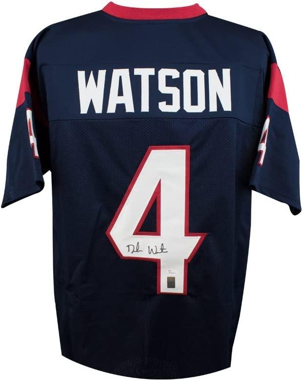 Deshaun Watson Autographed Houston Texans Custom Navy Football Jersey - JSA COA