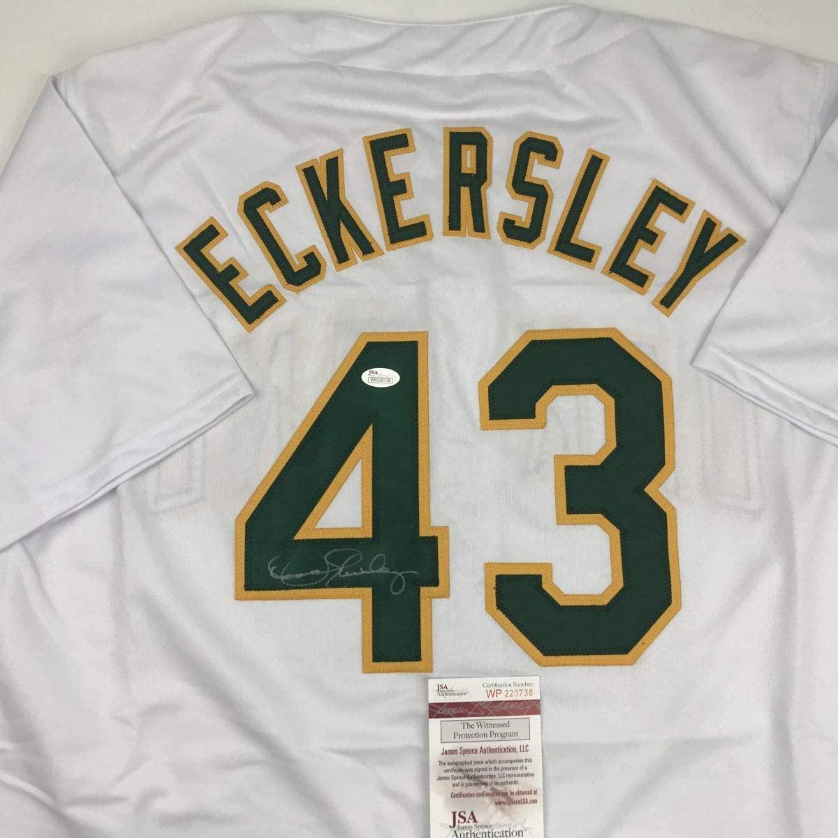 Autographed/Signed Dennis Eckersley Oakland White Baseball Jersey JSA COA