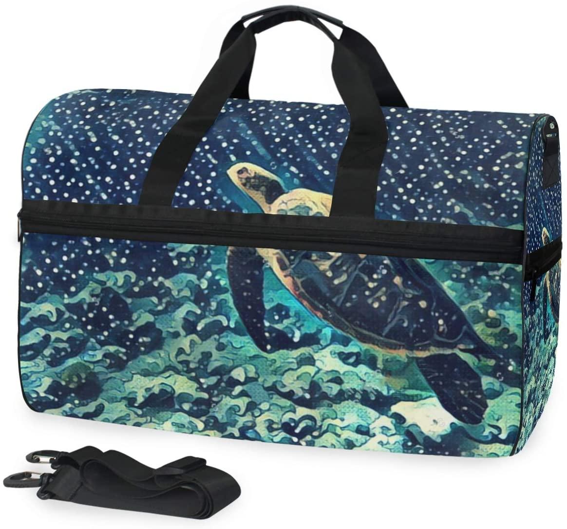 SLHFPX Gym Bag Sea Turtle Coral Sport Duffle Holdall Bag Training Handbag Yoga Bag for Men Women