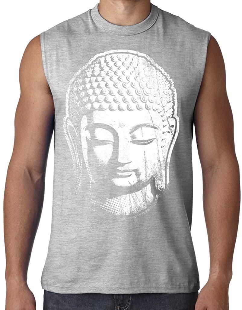 Mens Big Buddha Head Shooter Tee, XL Ash