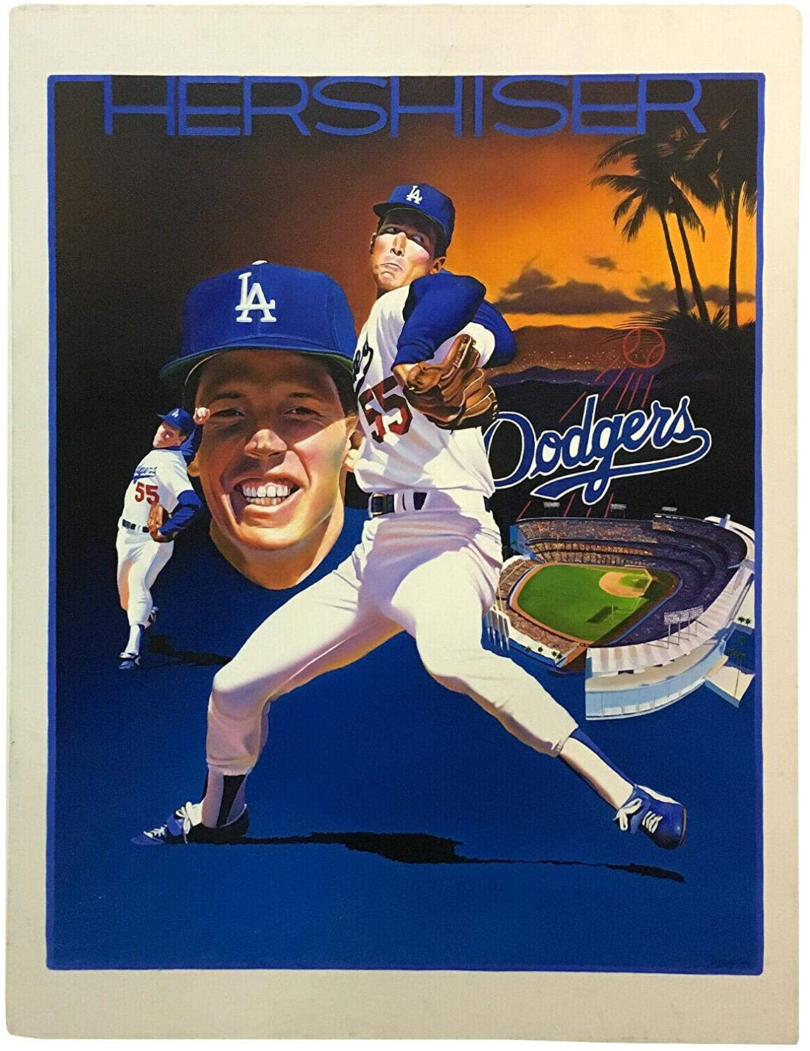 Terrence Fogarty signed original Orel Hershiser Oil Painting canvas auto COA 1/1 - Autographed MLB Art