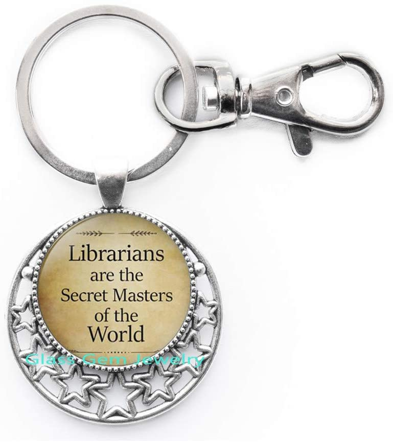 Librarians are The Secret Masters of The World Keychain,Librarian Keychain,Librarian Key Ring,Librarian Gift,Librarian Jewelry,Q0198