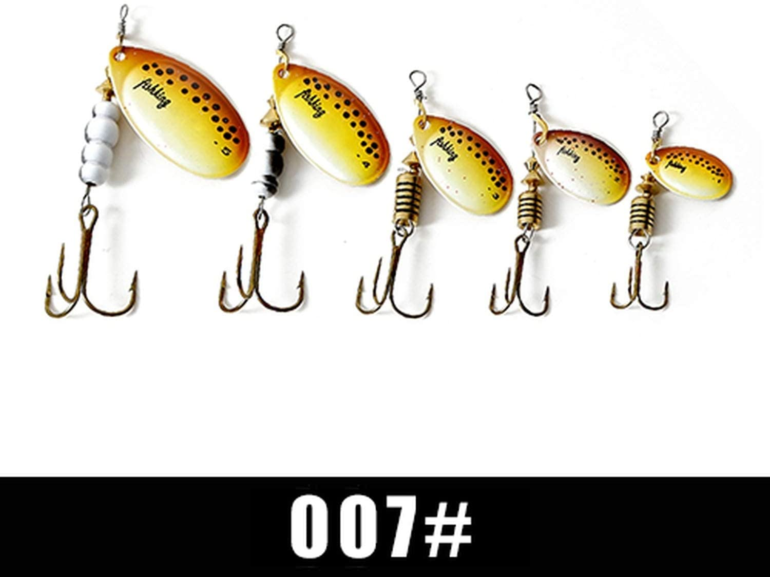 OH WHY Spinner Bait 1pc 3.2g 4.3g 6.1g 9.6g 13.6g Fishing Lure Bass Hard Baits Spoon with Treble Hook Tackle,007,3.2g